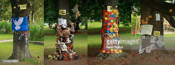 In this combination image of four seperate photographs messages left by activists hang on some of the nearly 300 trees slated for removal in the...