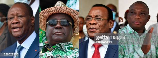In this combination of file photographs created on September 15, 2020 presidential candidates in the upcoming 2020 Ivory Coast elections Ivory Coast...