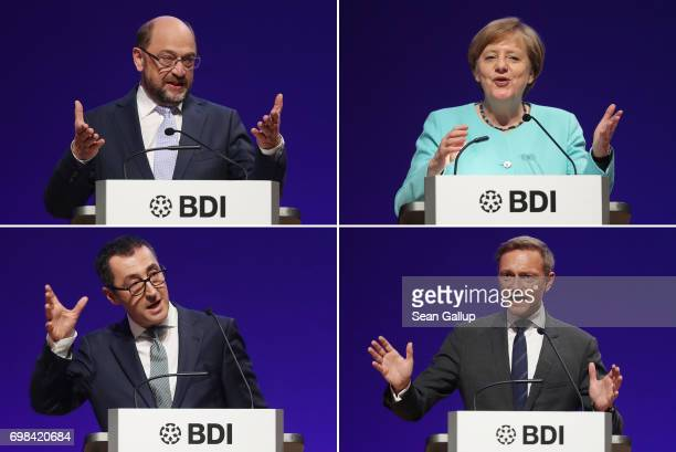 In this combination of four separate images Martin Schulz head of the German Social Democrats and SPD chancellor candidate Angela Merkel German...