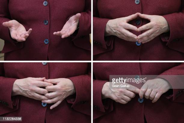 In this combination of four separate photographs German Chancellor Angela Merkel gestures with her hands while visiting the new Berlin Institute for...