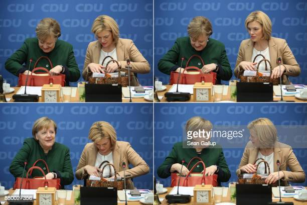 In this combination of four separate photos German Chancellor and leader of the German Christian Democrats Angela Merkel and Julia Kloeckner head of...