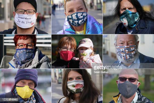 In this combination of nine separate images shot over the last few weeks people wearing home-made protective face masks are seen in Berlin, Leipzig...