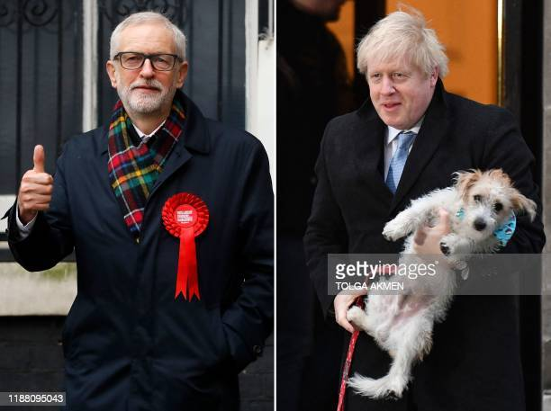 In this combination of photos created on December 12 Britain's Prime Minister Boris Johnson and his dog Dilyn , and Britain's Labour Party leader...