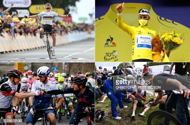 In this combination of pictures created on June 25 Team Deceuninck Quickstep's Julian Alaphilippe of France celebrates as he crosses the finish line,...