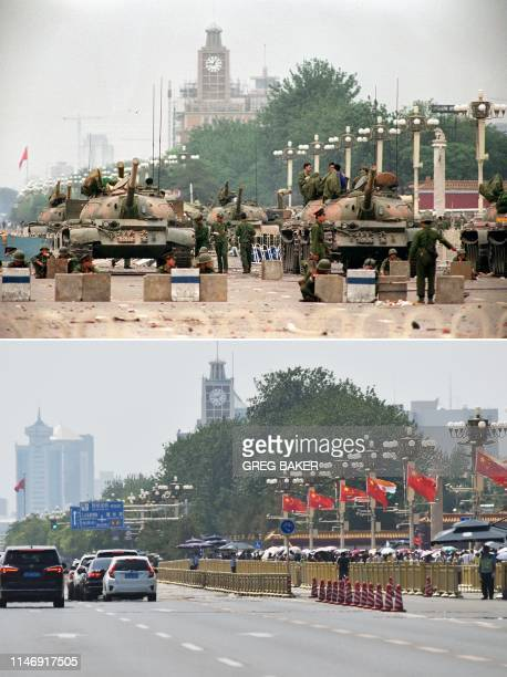 In this combination of pictures created on May 29 a file photo taken on June 6 1989 shows People's Liberation Army tanks and soldiers guarding...