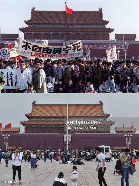 In this combination of pictures created on May 29 a file photo taken on May 14 1989 shows students and locals gathered at Tiananmen Square in Beijing...
