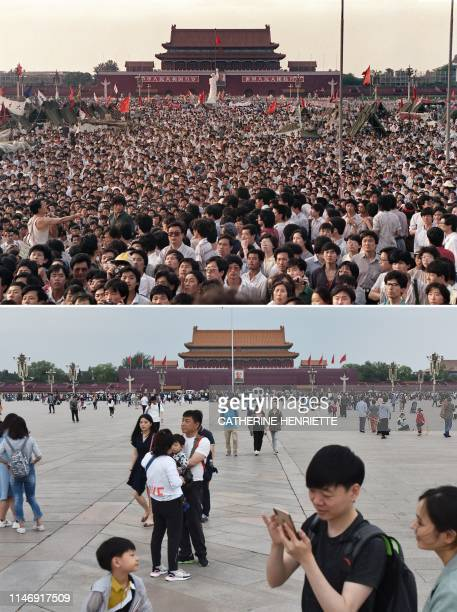 In this combination of pictures created on May 29 a file photo taken on June 2 1989 shows prodemocracy protesters gathered near a Goddess of...