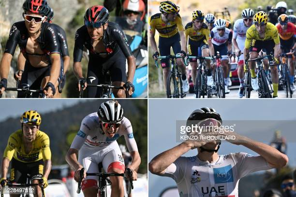 In this combination of pictures created on September 13 Team Ineos rider Colombia's Egan Bernal climbs the Grand Colombier pass behind the leader's...