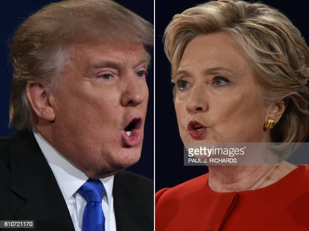 In this Combination of pictures taken on September 26 Republican nominee Donald Trump and Democratic nominee Hillary Clinton face off during the...