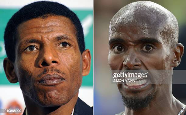 In this combination photo created in London on April 25 Ethiopian track star double Olympic gold medallist and world record holder Haile Gebrselassie...