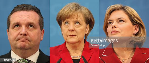 In this combination photo montage Christian Democratic governor of BadenWuerttemberg Stefan Mappus German Chancellor and leader of the CDU Angela...