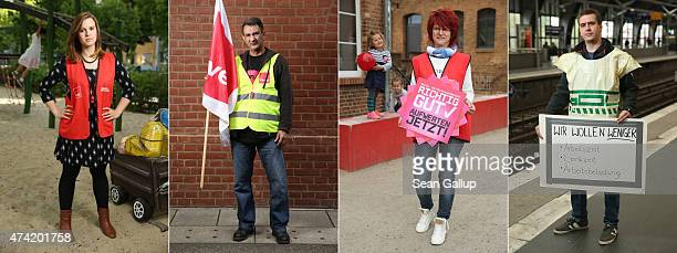 In this combination photo of four separate images striking workers Josephin Schmidt who works in a day care facility of Studentenwerk Berlin Henry...