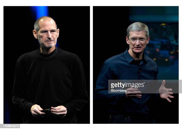 In this combination photo Steve Jobs former chief executive officer of Apple Inc left unveils the iCloud storage system at the Apple Worldwide...