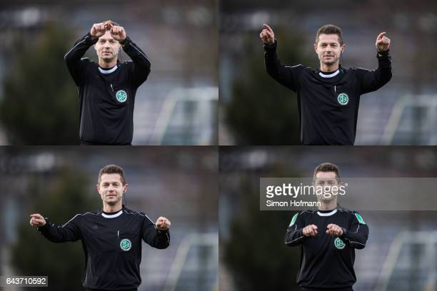 In this combination picture Referee Guenter Perl gestures to demonstrate how to ask for video assistant support during a DFB DFL Video Assistant...