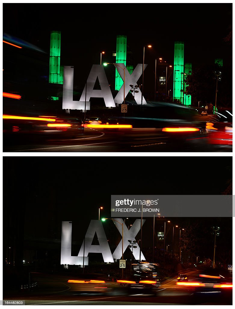 In this combo photo shows the 100-foot LAX Gateway pylons at Los Angeles International Airport are lit green (top) for an hour on March 23, 2013 in Los Angeles, California, before being turned off (bottom) and going dark for the following hour to commemorate Earth Hour 2013, with the annual global campaign engaging more than 150 nations to voluntarily participate in the no-lights show this year. AFP PHOTO / Frederic J. BROWN
