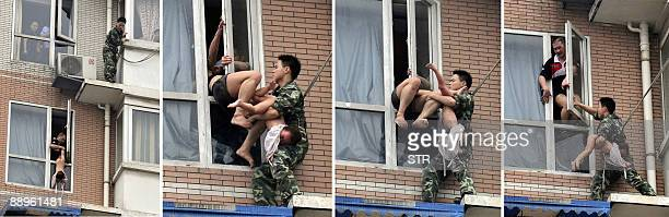 In this combo photograph a Chinese firefighter climbs down to rescue a twoyearold girl from her suicidal father Hu Junbin dangling her outside the...