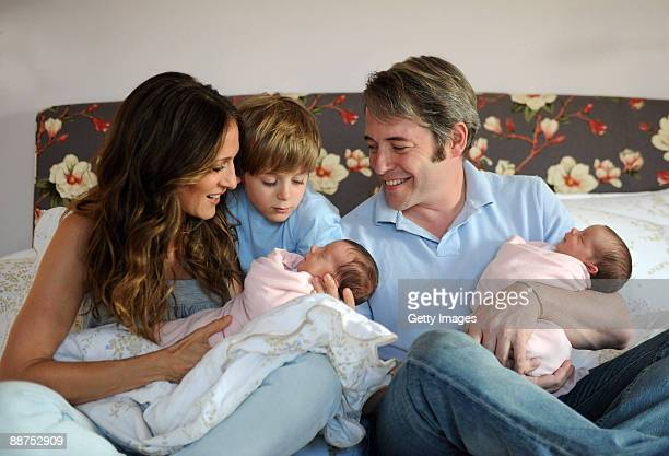 In this complementary handout image provided by Robin Layton Sarah Jessica Parker holding daughter Marion Loretta Elwell Broderick couple�s son James...