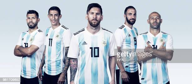 In this composite Argentina players Sergio AgueroAngel Di MariaLionel MessiGonzalo HiguainJavier Mascherano pose for a portrait during the official...