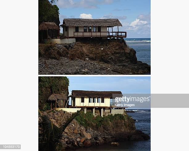 In this composite image, a before and after contrast is seen of the Seabreeze Resort on the first anniversary of the 2009 Samoa earthquake and...