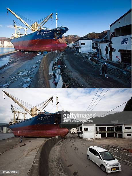 In this composite image a car drives past a ship called Asia Symphony that was left stranded prior to the sixth month anniversary of the March 11...