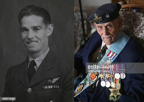 In this composite image a comparison has been made between a handout photograph of WWII veteran Bill Caster posing as a young RAF airman during WWII...