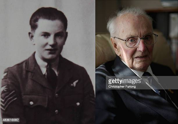 In this composite image a comparison has been made between a handout photograph of WWII bomber crewman Peter Andrews aged 21 posing in 1944 and one...
