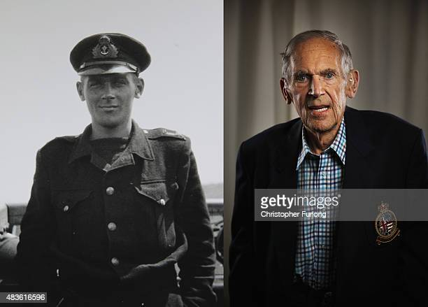 In this composite image a comparison has been made between a handout photograph of WWII veteran Brian Carter standing on the bridge of his ship...