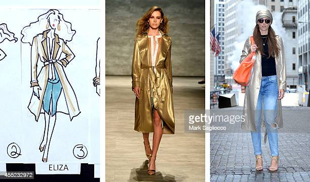 In this composite image a comparison has been made between a piece from the GEORGINE 2015 collection in production in the design studio to the runway...