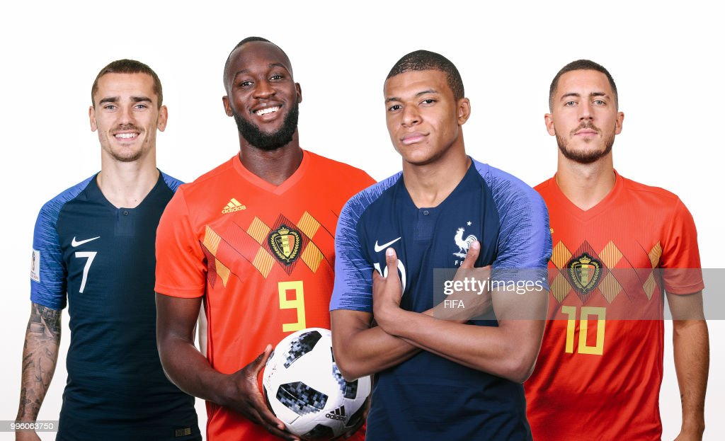 IMAGES - Image numbers 972039682,974380480,974381110,991520114) In this composite image a comparison has been made between Belgian players Romelu Lukaku (2ndL) with Eden Hazard (R) and French players Antoine Griezmann (L) with Kylian Mbappe (2ndR). Belgium and France meet in one of the FIFA World Cup 2018 semi finals.
