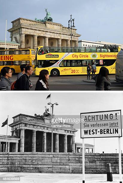In this composite image a comparison has been made between Berlin in the 1960s and Berlin now in 2014 A sign outside the Brandenburg Gate and the...