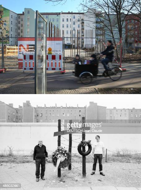 In the colour photo above a woman with two children rides a bicycle past a glass memorial plaque to Ida Siekmann, the first person to die while...
