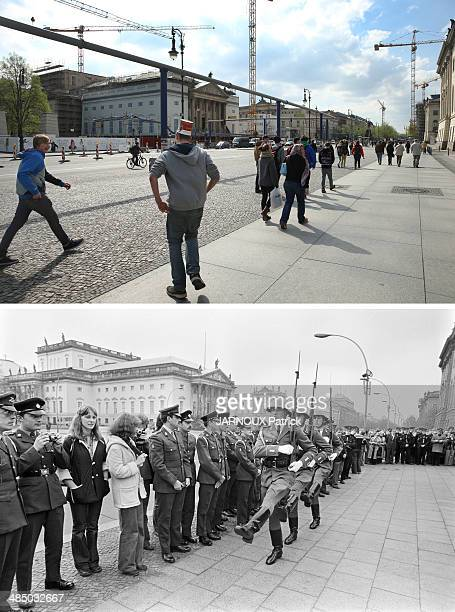 In this composite image a comparison has been made between Berlin in the 1970s and Berlin now in 2014 The Berlin Wall