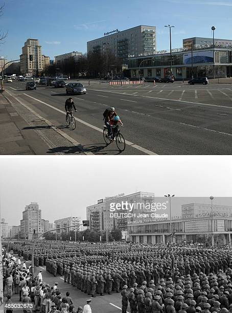 In this composite image a comparison has been made between Berlin in the 1980s and Berlin now in 2014 20th Anniversary Of The Berlin Wall En...