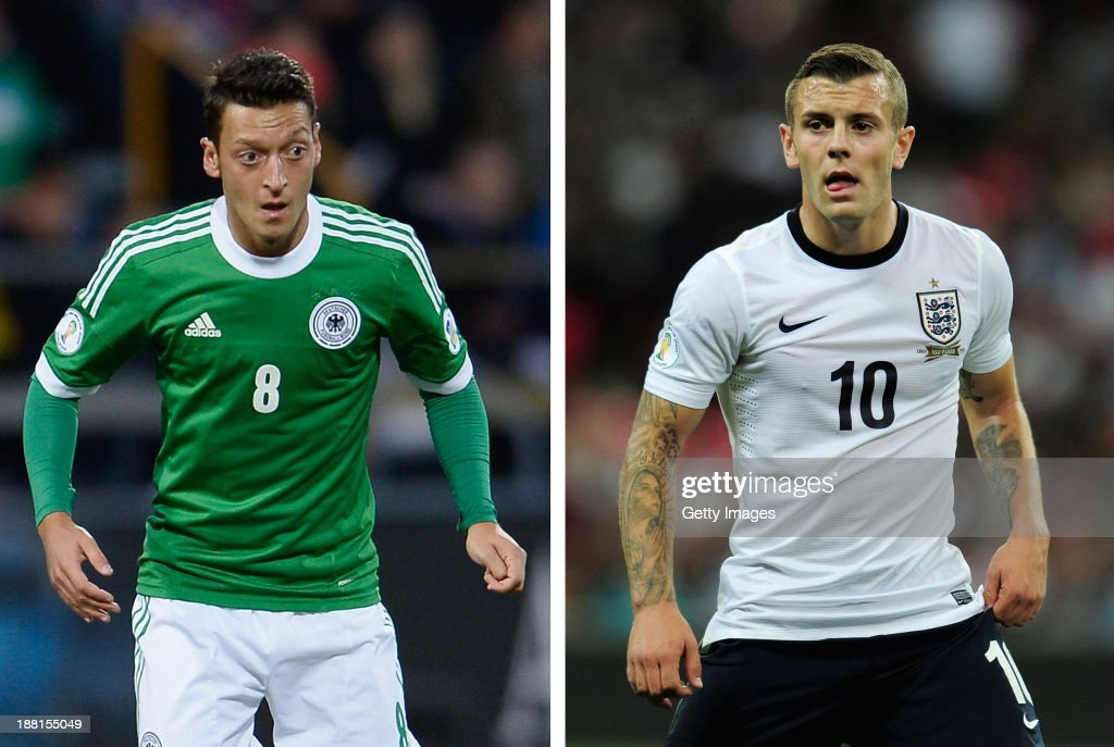 In this composite image a comparison has been made between between Mesut Oezil (L) and Jack Wilshere. Both Arsenal players are due to play against each other for their respective countries on Tuesday November 19, 2013 when England play Germany Jack Wilshere of England in action during the FIFA 2014 World Cup Qualifying Group H match between England and Moldova at Wembley Stadium on September 6, 2013 in London, England.