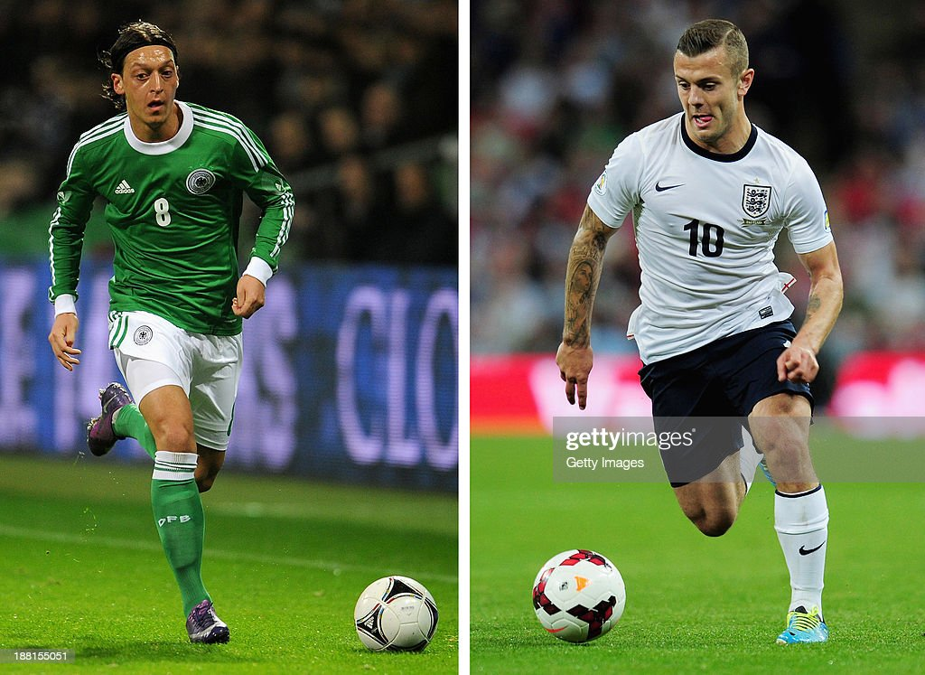In this composite image a comparison has been made between between Mesut Oezil (L) and Jack Wilshere. Both Arsenal players are due to play against each other for their respective countries on Tuesday November 19, 2013 when England play Germany. Jack Wilshere of England in action during the FIFA 2014 World Cup Qualifying Group H match between England and Moldova at Wembley Stadium on September 6, 2013 in London, England.
