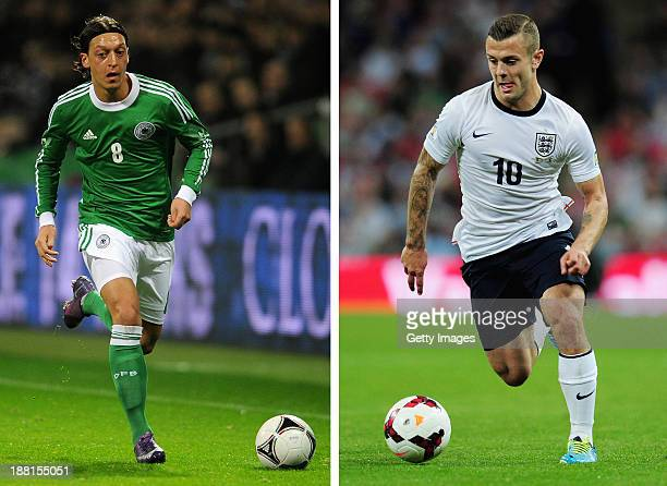 In this composite image a comparison has been made between between Mesut Oezil and Jack Wilshere Both Arsenal players are due to play against each...