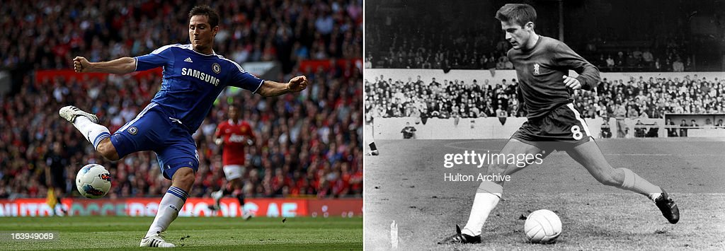 In this composite image a comparison has been made between current Chelsea player Frank Lampard and former Chelsea player Bobby Tambling. Original image IDs are 125591087 (left) and 3267866. AUGUST 18, 1968: Bobby Tambling of Chelsea in action.