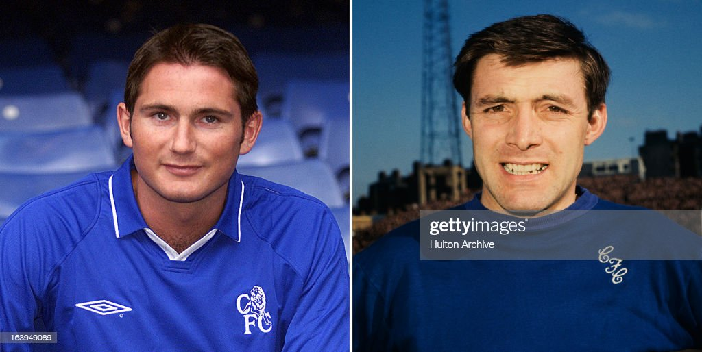 In this composite image a comparison has been made between current Chelsea player Frank Lampard and former Chelsea player Bobby Tambling. Original image IDs are 995778 (left) and 162419476. MARCH 04, 1967: English footballer Bobby Tambling of Chelsea FC.