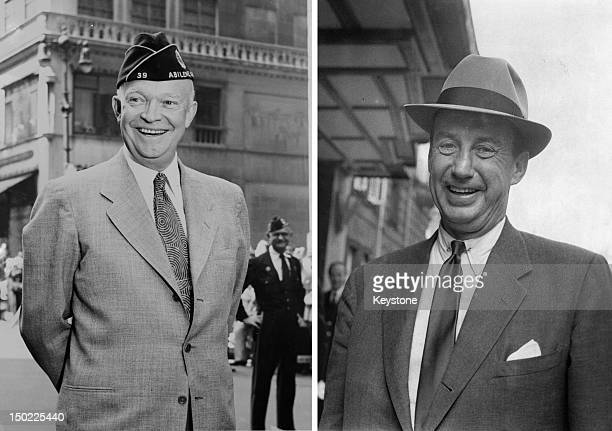 In this composite image a comparison has been made between former US Presidential Candidates Dwight Eisenhower and Adlai Stevenson In 1956 Dwight...
