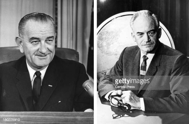 In this composite image a comparison has been made between former US Presidential Candidates Lyndon Baines Johnson and Barry Goldwater. In 1964...