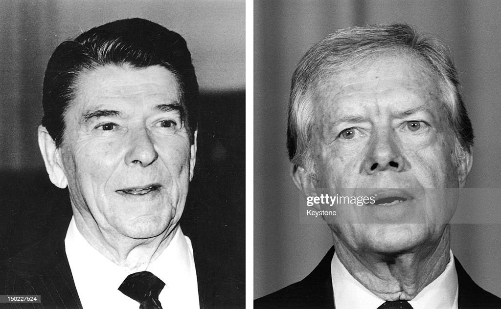 In this composite image a comparison has been made between former US Presidential Candidates Ronald Reagan (L) and Jimmy Carter. In 1980 Ronald Reagan won the presidential election to become the President of the United States. 1986: The former President of the United States, Jimmy Carter speaks in 1986 in London.