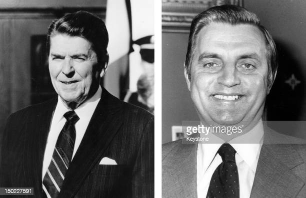 In this composite image a comparison has been made between former US Presidential Candidates Ronald Reagan and Walter Mondale In 1984 Ronald Reagan...