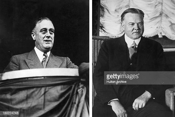 In this composite image a comparison has been made between Franklin Delano Roosevelt and Herbert Hoover In 1932 Franklin Delano Roosevelt won the...