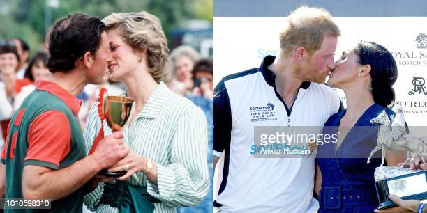 In this composite image a comparison has been made between Prince Charles Prince of Wales and Diana Princess of Wales and Prince Harry Duke of Sussex...