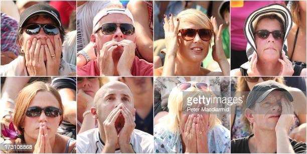 In this composite image a comparison has been made between spectators watching moments before Andy Murray of Great Britain beat Novak Djokovic of...