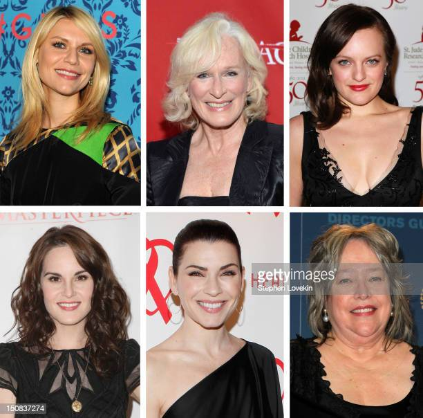 In this composite image a comparison has been made between the 2012 Emmy nominees for Outstanding Lead Actress In A Drama. Presenter Kathy Bates,...
