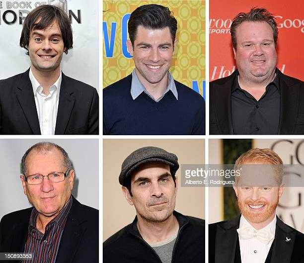 In this composite image a comparison has been made between the 2012 Emmy nominees for Outstanding Supporting Actor In A Comedy Series Actor Jesse...