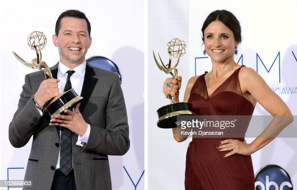 In this composite image a comparison has been made between the 2012 Emmy winners for Outstanding Lead Actors in a Comedy Series Julia LouisDreyfus...