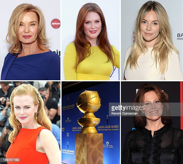 In this composite image a comparison has been made between the 2013 Golden Globe Award nominees for Best Performance by an Actress in a Mini-Series...