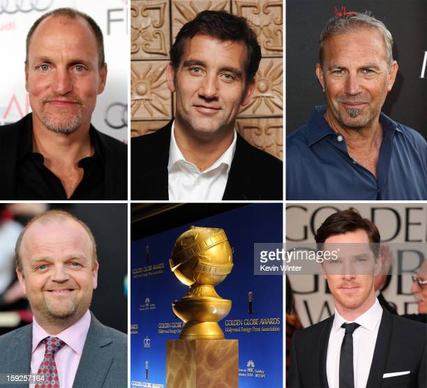 In this composite image a comparison has been made between the 2013 Golden Globe Award nominees for Best Performance By An Actor In A MiniSeries Or...